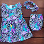 Six Bunnies Unicorn Party Dress, Nappy Cover and Headband Set