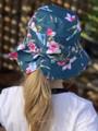Six Bunnies Luau Green Bucket Hat with Bow