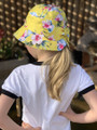 Six Bunnies Luau Yellow Bucket Hat with Bow