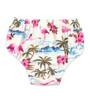 Six Bunnies Flamingos Set on Blue - Dress, Bloomers & Headband - Cream