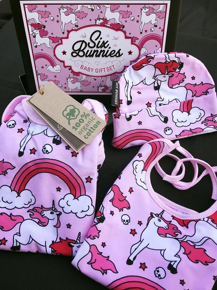 Six Bunnies Cupcakes Pyjama Set Baby Cute Cool Rockabilly Sweet Pink Gift Infant