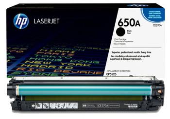 Original HP Brand 650A CE270A Black LaserJet Toner Cartridge