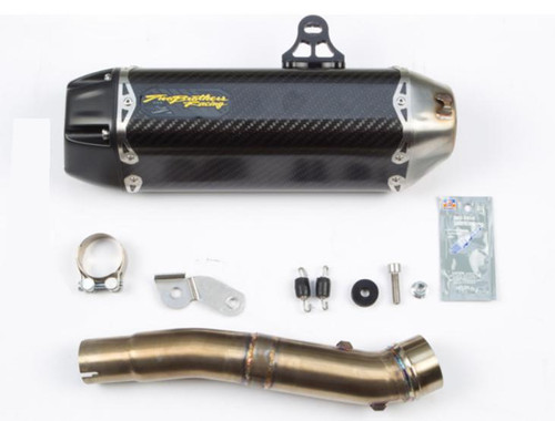 TWO BROTHERS RACING 2 BROS 005-4080405-T SLIP ON SO EXHAUST SYSTEM  TARMAC CARBON FIBER MUFFLER  STAINLESS LINK / MID PIPE  HONDA CBR300 CBR 300 cb 300f cb300f  2015 15  16 2016