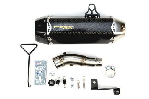 TWO BROTHERS RACING 2 BROS 005-3890405-T SLIP ON SO EXHAUS SYSTEM  TARMAC CARBON FIBER CF MUFFLER  STAINLESS MID / LINK PIPE  KAWASAKI NINJA 300 300R ZX300 ZX300R EX300 EX300R ZX-3 ZX-3R   13 14 15 2013 2014 2015 16 2016