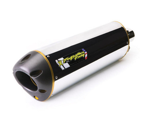 TWO BROTHERS RACING 2 BROS 005-3020406V SLIP ON SO EXHAUST SYSTEM  POLISHED ALUMINUM CANISTER MUFFLER SLEEVE  INCLUDES P1 POWER TIP HONDA CBR250R CBR250 CBR 250 250R 11 2011 12 13 14 2012 2013 2014