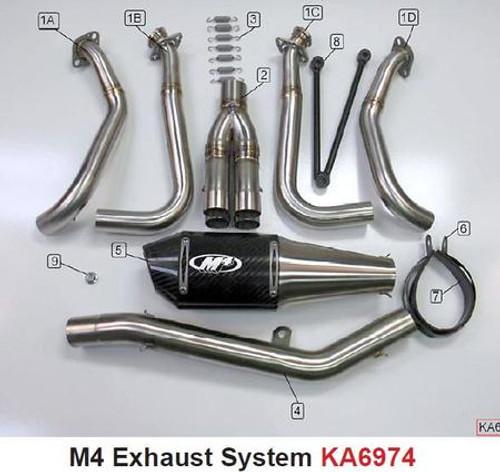 M4 KA6924 CARBON FIBER CF FULL SYSTEM EXHAUST MUFFLER KAWASAKI ZX-6R ZX6 ZX6R  2009 2010 09 10 11 12 2011 2012