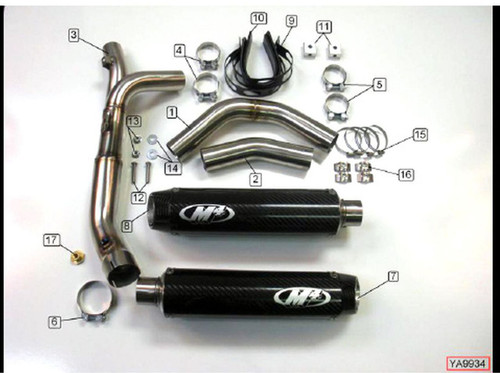 M4 YA9934 SLIP ON  SO 3/4 EXHAUST SYSTEM  DUAL CARBON FIBER CF MUFFLERS W CF END CAP CATALYZER CAT DELETE REMOVING LINK / MID PIPE SS YAMAHA YZF-R1 YZFR1 YZF R1 R1000 1000 09 10 11 12 13 2009 2010 2011 2012 2013 14 2014