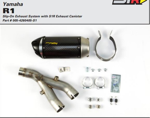 TWO BROTHERS RACING 2 BROS 005-4260405-S1 SLIP ON SO EXHAUST SYSTEM  S1R S1-R CARBON FIBER MUFFLER  STAINLESS LINK / MID PIPE DELETES CAT CATALYZER REMOVED   YAMAHA YZF-R1 YZFR1 YZF-R1000 R1 YZF  YZF-R1M R1M  2015 15 16 2016