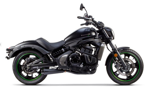 TWO BROS 005-4200199-B COMP-S 2 INTO 1 COMPLETE FULL EXHAUST SYSTEM  STAINLESS STEEL SS HEADER / HEAD PIPE & 2 INTO 1 COLLECTOR  BLACK CERAMIC COATED STAINLESS MUFFLER WITH CARBON FIBER CF END CAP  KAWASAKI VULCAN S   2015 2016 15 16