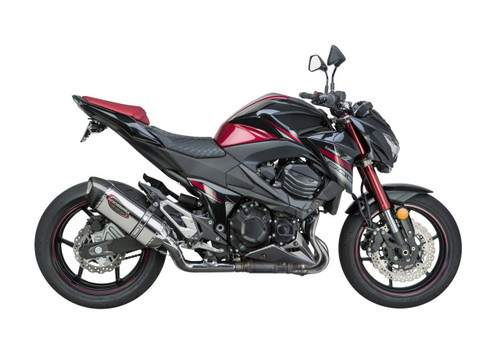 YOSHIMURA 148002M520 SLIP-ON EXHAUST SYSTEM  ALPHA STAINLESS MUFFLER W CARBON CF END CAP   STAINLESS SS MID / LINK PIPE   KAWASAKI Z800 Z8 ABS & NONABS   2016 16