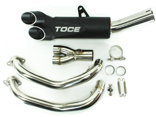 TOCE TPY13FZ07 FULL COMPLETE EXHAUST SYSTEM RAZOR TIP DUAL OUTLET BLACK AL MUFFLER  STAINLESS  MID / LINK PIPE & HEADER / COLLECTOR  YAMAHA FZ07 FZ-07 FAZER 700 FZ 07  2015 15 16 2016 17 2017