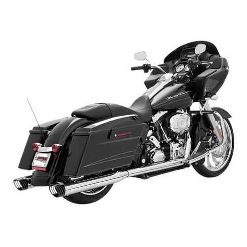 FREEDOM PERFORMANCE HD00235 CHROME W BLACK TIPS Racing True Dual Exhaust  Harley Touring 2009-2016
