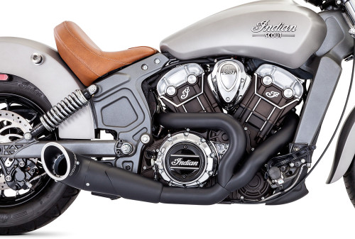 FREEDOM PERFORMANCE IN00079 2 INTO 1 BLACK TURNOUT EXHAUST INDIAN SCOUT 15-18