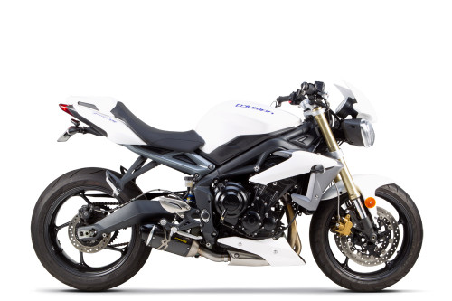 TWO BROTHERS RACING 2 BROS 005-3980405-S1 SLIP ON SO EXHAUST SYSTEM 005-5110405-S1  S1-R S1R CARBON FIBER CF MUFFLER   STAINLESS MID / LINK PIPE  TRIUMPH STREET TRIPLE   13 14 15 2013 2014 2015 16 2016