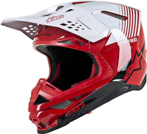 ALPINESTARS  SUPERTECH M10 DYNO HELMET RED/WHITE ALL SIZES CONSTRUCTION 8301119-3182
