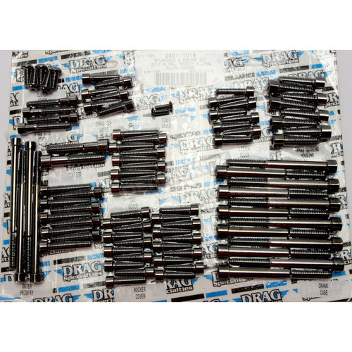 Black Engine Bolt Set w/Smooth Allen Heads 2401-1018  17-19 M8 HARLEY FL