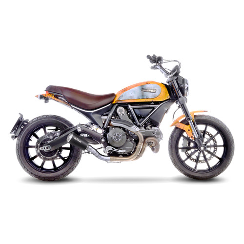 LEOVINCE 15206B LV-10 BLACK SLIP-ON EXHAUST SCRAMBLER 17-19