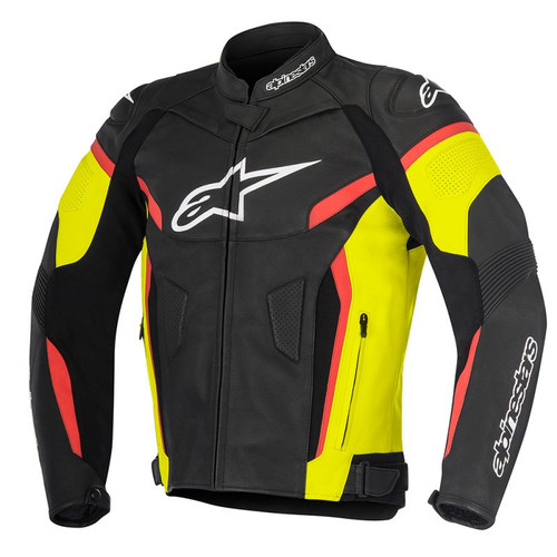 ALPINESTARS GP PLUS R V2 LEATHER JACKET 3100517-1538 BLACK / YELLOW FLUO / RED FLUO