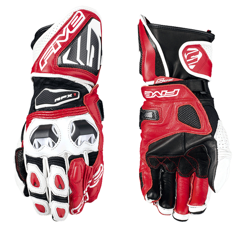 FIVE RFX1 RACE LEATHER GLOVES WHITE / RED ALL SIZES 0117025810
