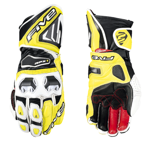 FIVE RFX1 RACE LEATHER GLOVES WHITE / FLUO YELLOW ALL SIZES 0117025910