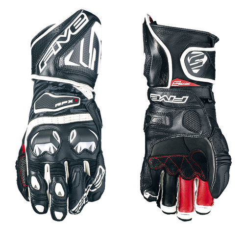 FIVE RFX1 RACE LEATHER GLOVES BLACK / WHITE ALL SIZES 0117021910