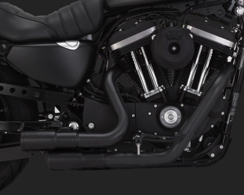 VANCE & HINES 46874 MINI-GRENADES BLACK EXHAUST SYSTEM SPORTSTER 04-19