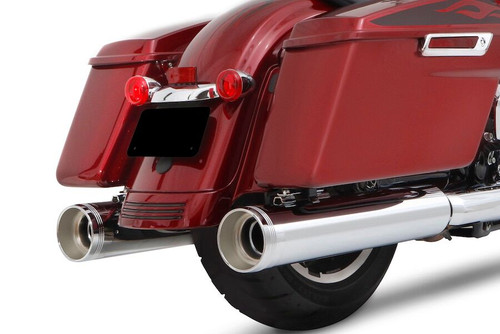 "RINEHART 4.5"" MOTOPRO 45 CHROME WITH CHROME END CAPS SLIP-ON MUFFLERS TOURING 17-20 500-0110C"