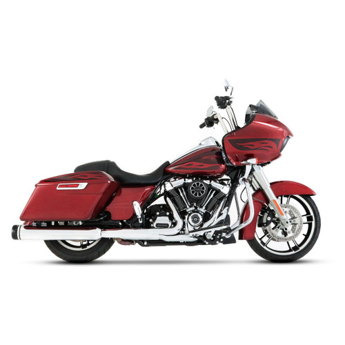 "RINEHART 4.5"" MOTOPRO 45 CHROME WITH BLACK END CAPS SLIP-ON MUFFLERS TOURING 17-20 500-0110"