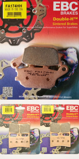 EBC FA380HH FA174HH FRONT 2 SETS N REAR BRAKE PADS HH SINTERED