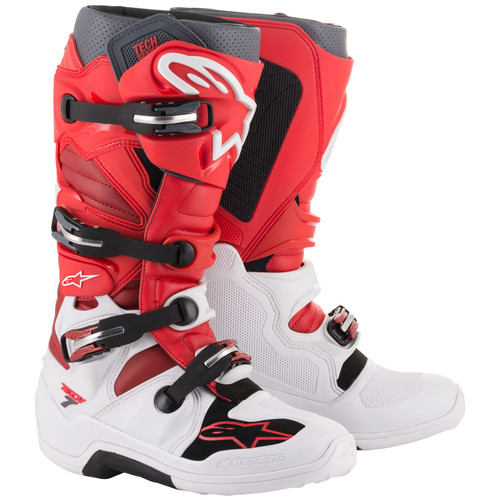 ALPINESTARS TECH 7 BOOTS ALL SIZES 20120142033 WHITE RED BURGANDY