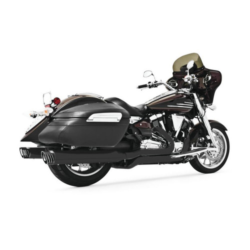 "FREEDOM PERFORMANCE MY00117 4"" RACING SYSTEM BLACK/BLACK SCULPTED TIP YAMAHA 1900 ROADLINER STRATOLINER RAIDER"