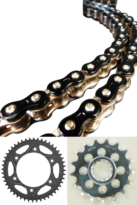 CHAIN & SPROCKET KIT EK 3D 520 GP Chain  BLACK / GOLD  & VORTEX FRONT & REAR