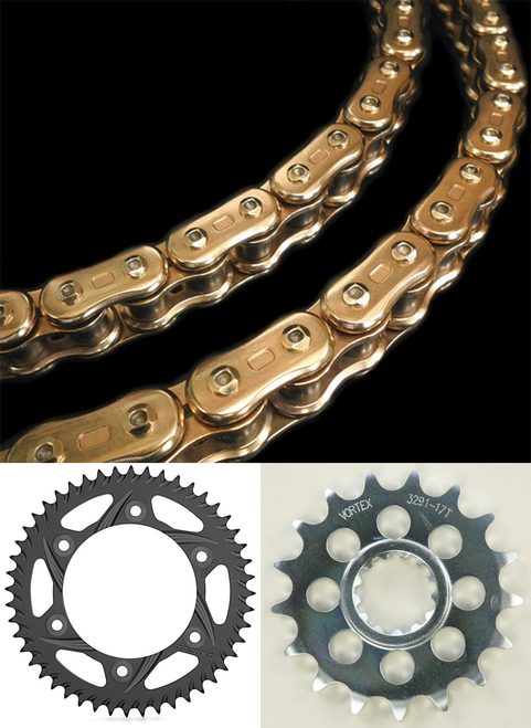 CHAIN & SPROCKET KIT EK 3D 520 GP Chain GOLD & VORTEX FRONT & REAR