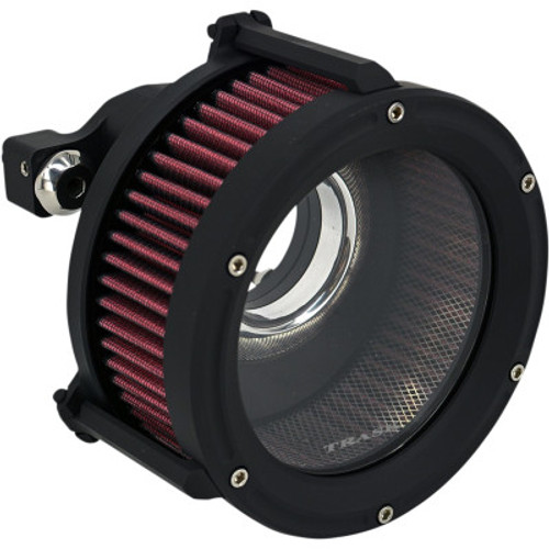 Trask TM-1022-BK Black Assault Charge High-Flow Clear Air Cleaner Harley XL 91-20