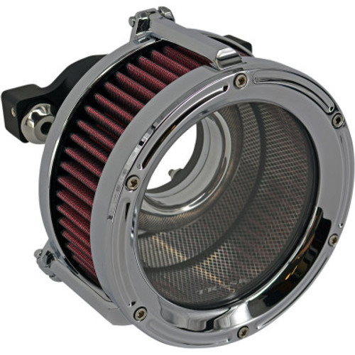 Trask TM-1022-CH CHROME Assault Charge High-Flow Clear Air Cleaner Harley XL 91-20