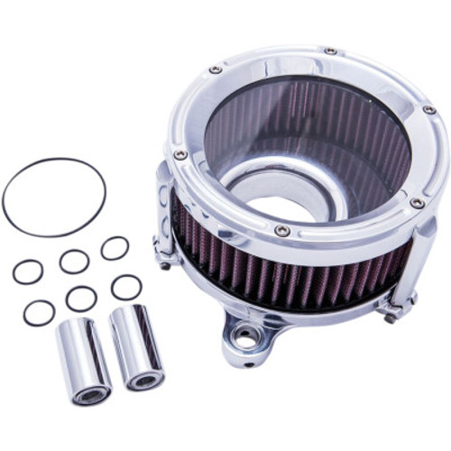 TRASK TM-1023CH CHROME Assault Series AIR CLEANER w/ Window M8 17-20