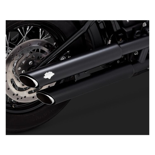 """VANCE & HINES 46875 3"""" Round Twin Slash Slip-On Mufflers EXHAUST SOFTAIL 18-20"""