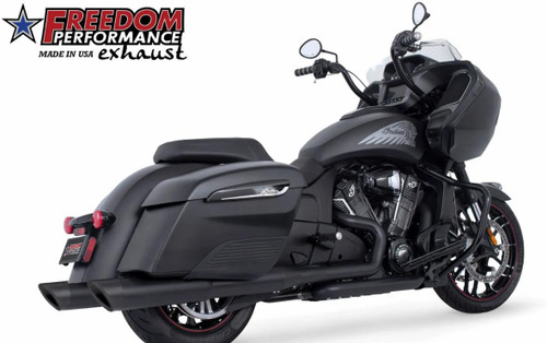 FREEDOM PERFORMANCE IN00211 BLACK 2 STEP SLIP-ON EXHAUST MUFFLERS INDIAN BAGGERS