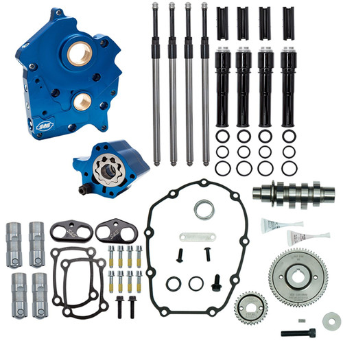 S&S 310-1014A 475 GEAR Cam Chest Kit BLACK RODS 17-20 M8 HARLEY OIL