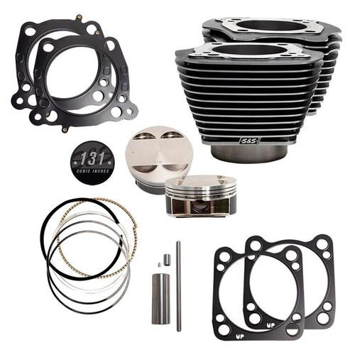 "S&S 910-0762 131"" BLACK / HIGHLIGHT Big Bore Stroker Cylinder & Piston Kits M8 17-21"
