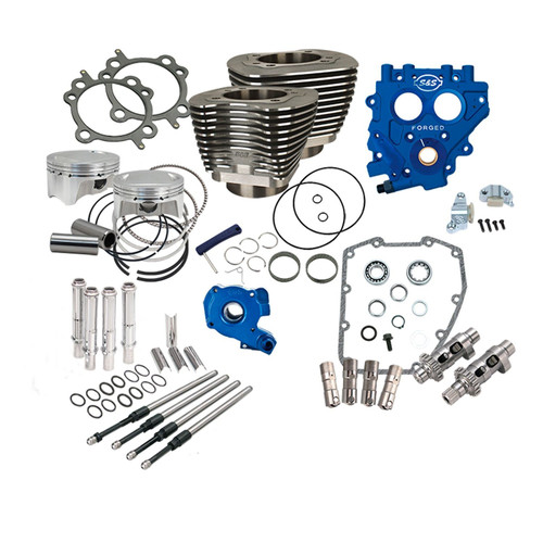 """The 100"""" Power Package is the ideal combination of performance and savings to transform your Twin Cam HD without breaking the bank. Bump the early Twin Cam from 88ci to 100ci as well as adding matched cams/cam plate/oil pump and everything else a high performance cam chest needs to reliably make big power.  Specifications  4"""" Bore bolt on cylinder and piston kit 10.5:1 Compression Wrinkle Black Finish S&S 585 Easy Start Chain Drive Cams TC3 Oil Pump TC3 Cam Plate S&S cam chain tensioners Quickee Adjustable Pushrods with Tubes S&S Precision Tappets Features & Benefits  Low friction Ductile Cast Iron liner 10.5:1 Compression Bolts in. No machining, balancing, or splitting the crankcases Upgrade TC88 to 100 cu inches Cylinders fit to pistons- No machining required All parts required to upgrade to gear drive cam or hydraulic tensioners in one easy to order part number Engineered package to deliver the best bolt in performance Although not mandatory, we recommend adding an oil cooler to bikes ridden in warmer climates *Not compatible with S&S 79cc Super Stock® heads. Not recommended for Tri-Glide or other three wheel models due to lugging nature of these bikes."""