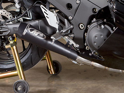 M4 KA9442 FULL EXHAUST SYSTEM SINGLE DRAG GP STYLE BLACK CERAMIC COATED MUFFLER STAINLESS HEADER / COLLECTOR  & MID / LINK PIPE 20 POUND WEIGHT SAVING! KAWASAKI ZX14 ZX14R ZX-14 ZX-14R ZX1400 ZX 1400 12 13 2012 2013 14 15 16 2014 2015 2016
