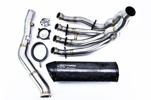 TWO BROTHERS RACING 005-3040107V-B FULL EXHAUST SYSTEM BLACK SERIES CARBON FIBER CF MUFFFLER STAINLESS SS HEADER / COLLECTOR & MID / LINK PIPE SUZUKI GSXR600 GSXR750 GSX-R600 GSX-R750 GSXR-600 GSXR-750 GSXR 600 750 11 12 13 14 15 2011 2012 2013 2014 2015
