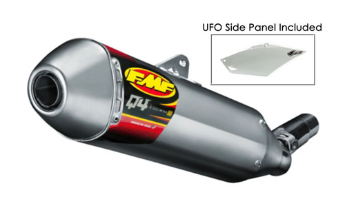 FMF RACING 041506 SLIP ON EXHAUST SYSTEM ALUMINUM AL HEX Q4 MUFFLER UFO PLASTIC SIDE PANEL  QUIET PERFORMANCE  HONDA CRF450R CRF450 CRF 450 450R   13 14 15 16 2013 2014 2015 2016