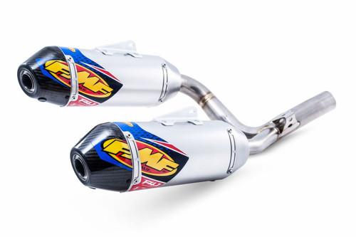 FMF RACING 041529 SLIP-ON SLIP ON EXHAUST SYSTEM DUAL ALUMINUM AL 4.1 RCT SL MUFFLER W CARBON FIBER CF END CAP  HONDA CRF250R CRF-250R CRF 250 250R   14 15 16 2014 2015 2016