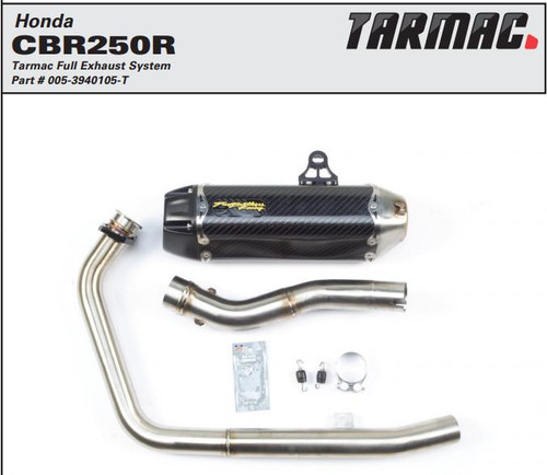 TWO BROTHERS RACING 2 BROS 005-3940105-T COMPLETE FULL EXHAUST SYSTEM  TARMAC CARBON FIBER CF MUFFLER  STAINLESS HEADER / COLLECTOR & MID / LINK PIPE  HONDA CBR250R CBR250 CBR 250 250R   11 12 13 14 2011 2012 2013 2014