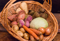 Mid-Winter's Root Vegetable Tote Let us provide the inspiration! Create warm homemade simple meals using these fine ingredients.  Stored lovingly for this moment.  Harvested from our fields in late autumn and brought to your home in this cold mid-winter. Available for a limited time. Local or Shipped to your door!*