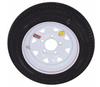 4.80 - 12 trailer tire mounted on white spoke 5 lug wheel