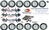 """(3) Dexter 10k GD Electric Brake Axles 8x6.5"""" w/ Springs and u bolts assembled on axle.  (1) Triple Hanger Kit (all hardware included to mount axles to trailer) (12) 215/75R17.5 16-ply Tires Mounted on White Dual Wheels 8x6.5 Trailer Parts Unlimited Huntsville Texas"""