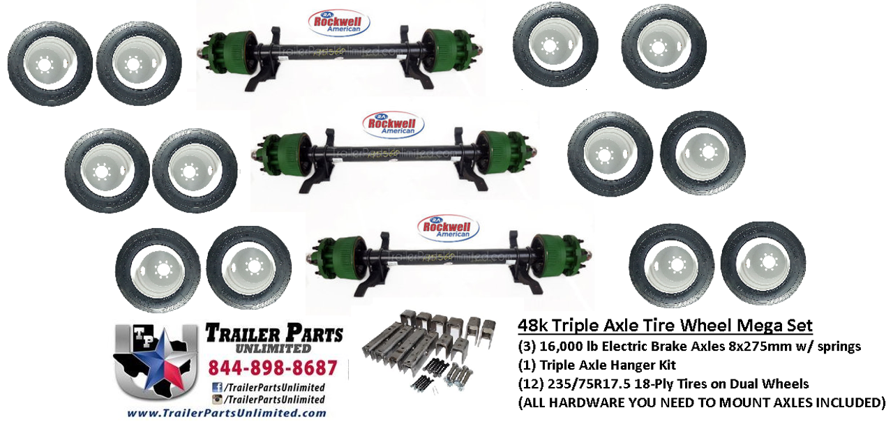 """3) 16000 lb Rockwell American Electric Brake Drum Trailer Axles with springs. 12) 235/75R17.5 18 ply heavy duty trailer tires mounted on silver dual wheels 8x275mm. 1 triple axle hanger kit for 2-1/2"""" wide slipper springs"""
